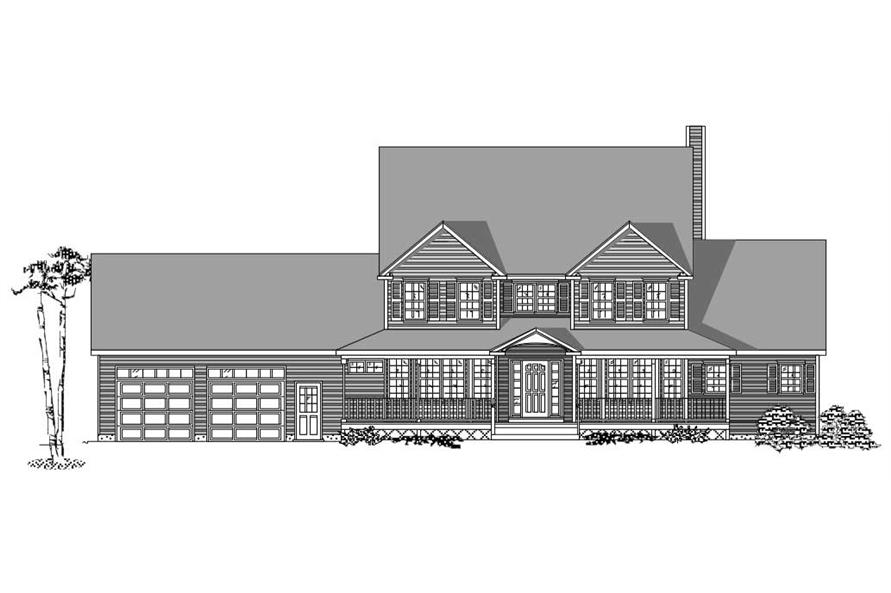 This is the black and white front elevation of these Farmhouse Home Plans.