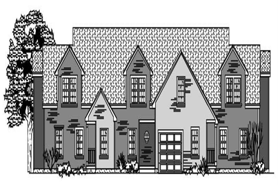 This image shows the front of these Multi-Unit House Plans.