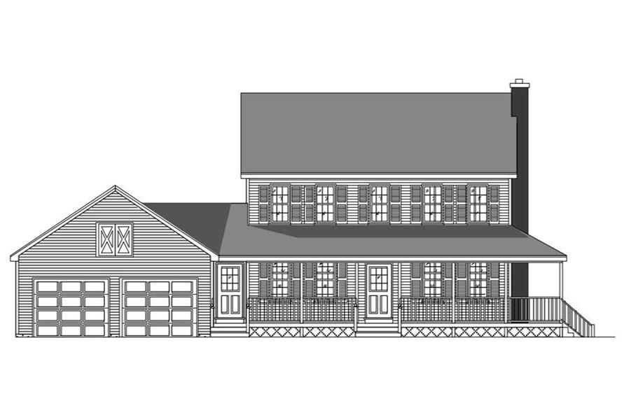 This is the front elevation for these Farmhouse Home Plans.