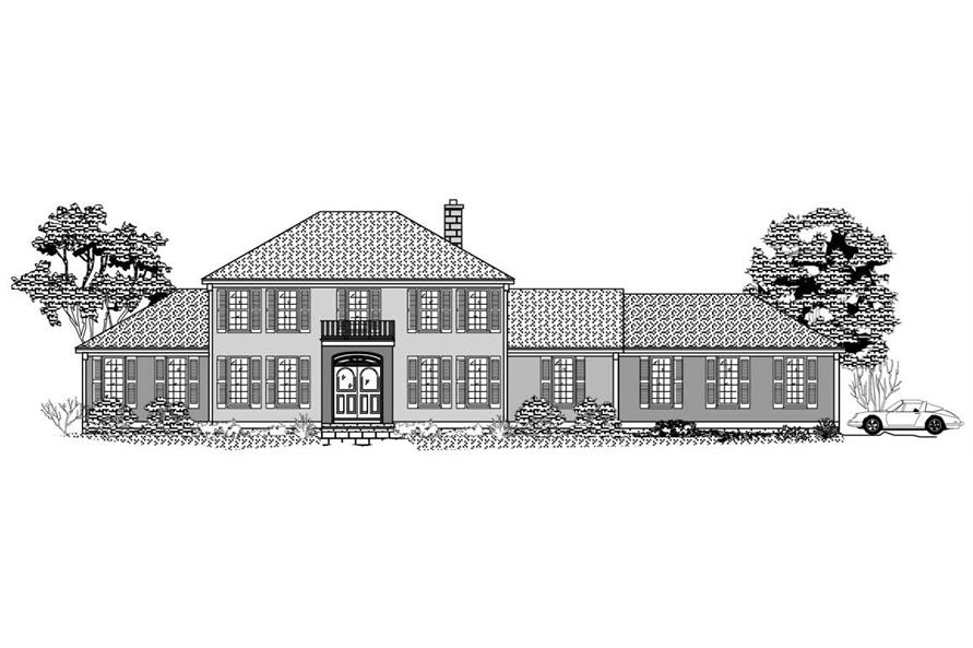Black and White front elevation for European House Plans 1-1116