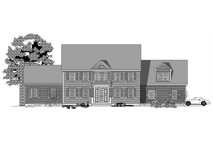 This is the black and white front elevation of these Ttraditional House Plans.