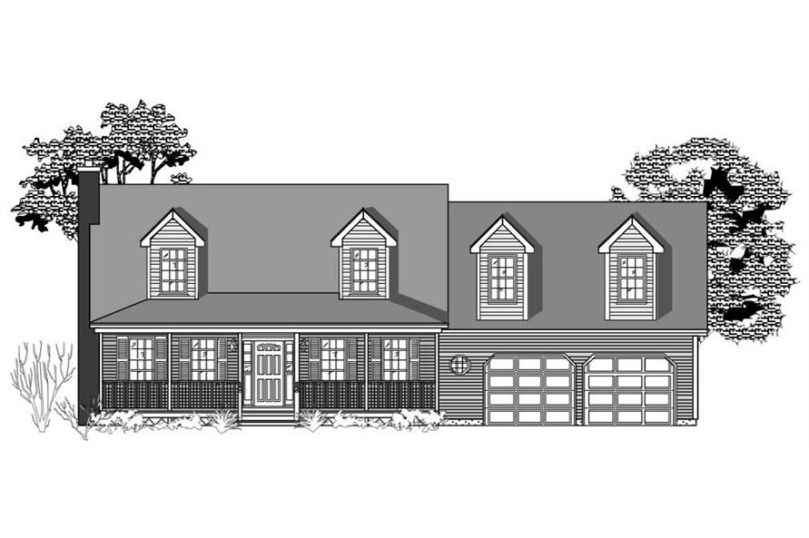 This is the front elevation for these Farmhouse Homeplans.