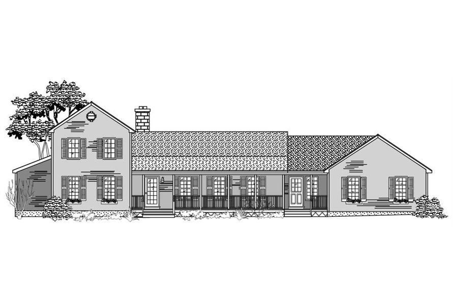 This is a black and white front elevation for these Country House Plans.