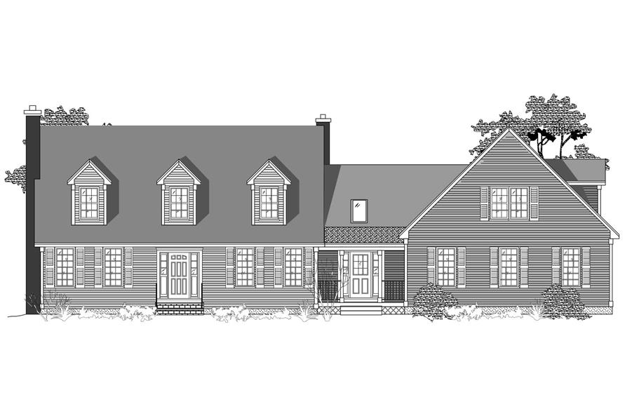 This is the black and white front elevation for these Cape Cod Houseplans.
