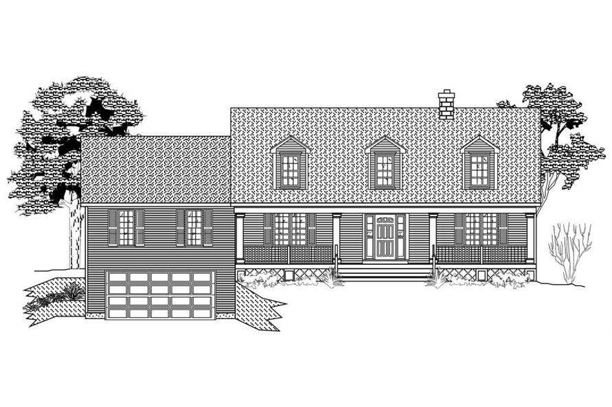 This is the front elevation for these Farmhouse House Plans.