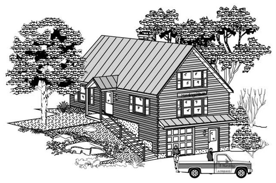 This image shows the black and white front elevation of these Country Home Plans.