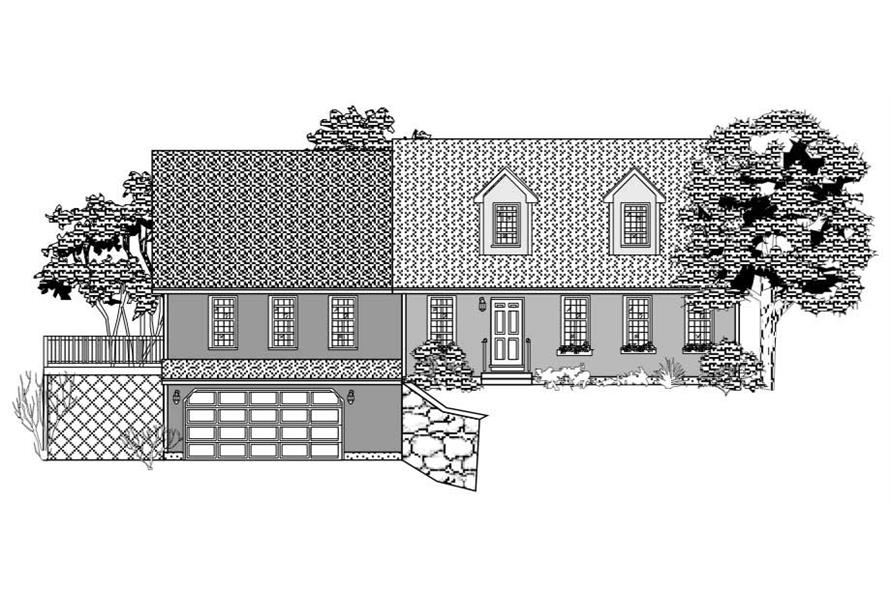 This is a black and white front elevation of these Country Houseplans.