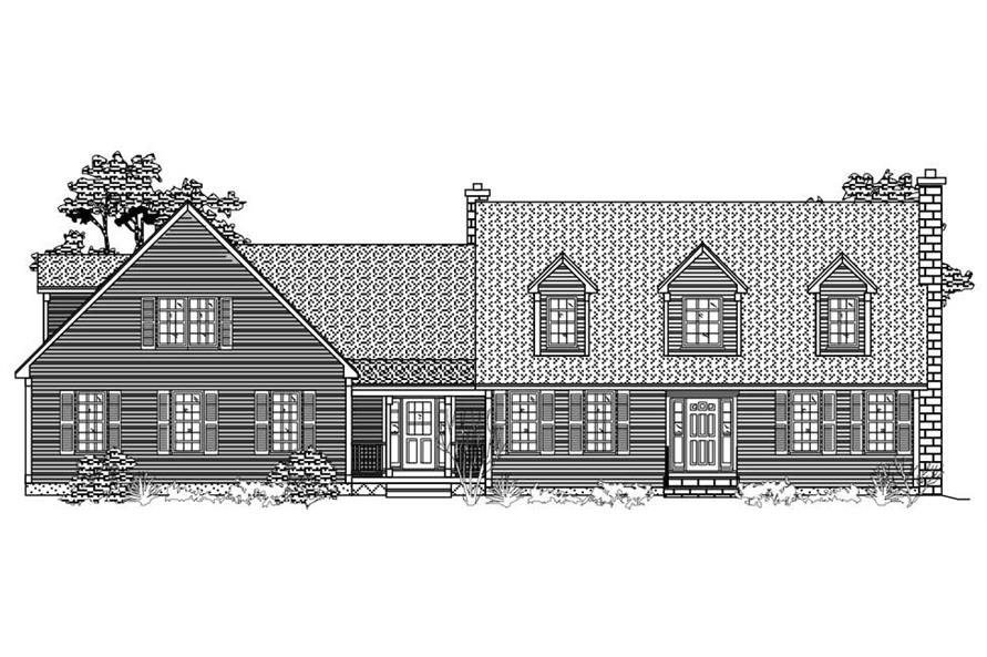 This is the front elevation of these Cape Cod Home Plans.