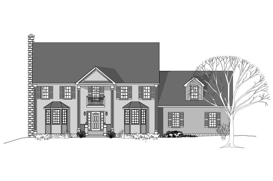 This image shows these Country House Plans from the front.