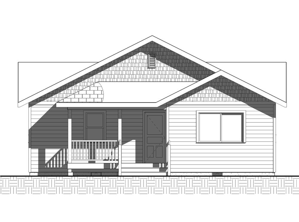 Home Plan Rear Elevation for bungalow house plans BL-1035