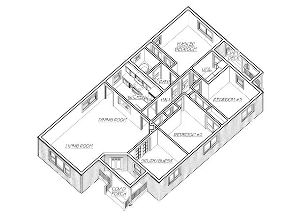Floor Plan First Story for bungalow house plan Cannon Hill