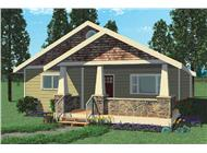 This image is a computer rendering of the Quail Run Bungalow House Plans.