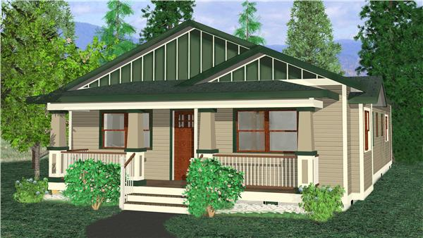 "This image is a computer rendering of Bugalow Houseplans ""Cedar View""."