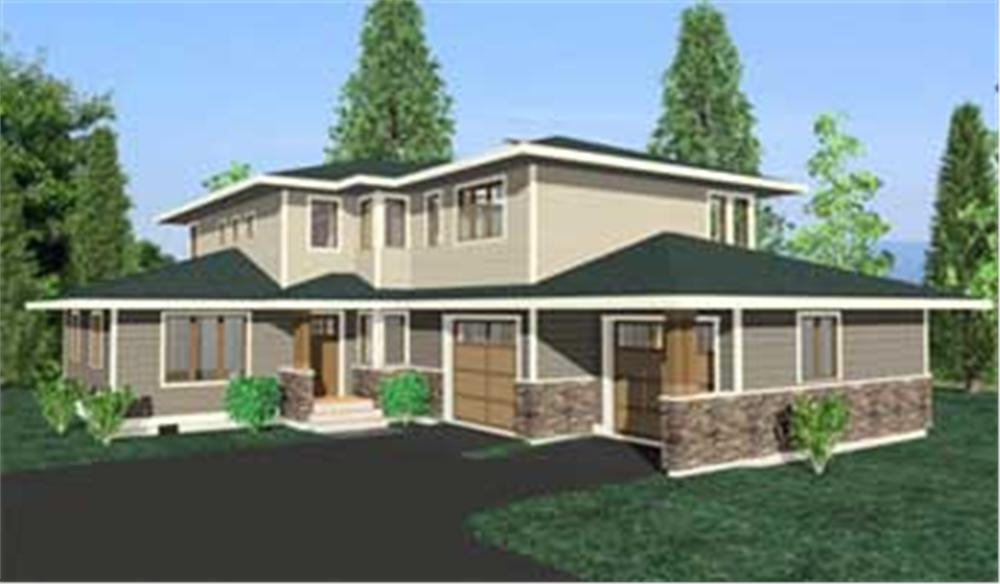 This image shows the colored rendering of the Oakridge Prairie Homeplans.