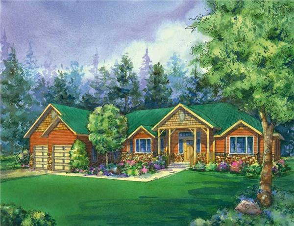 "This is a colored image of the craftman Home Plans ""Pine Creek""."