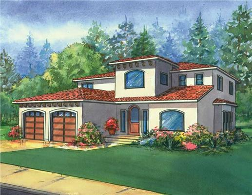 This image is a colored rendering of the Santa Barbara Mediterranean Houseplans.
