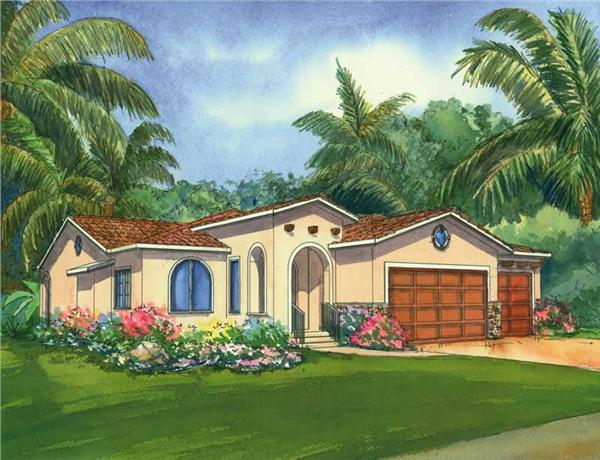 This is a colored renderign of the Santa Cruz Mediterranean Home Plans.