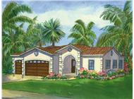 This is a colored rendering of La Jolla Mediterranean House Plans.