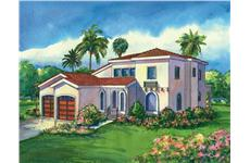 This image shows the colored rendering of the Villa Rosa Mediterranean Houseplans.