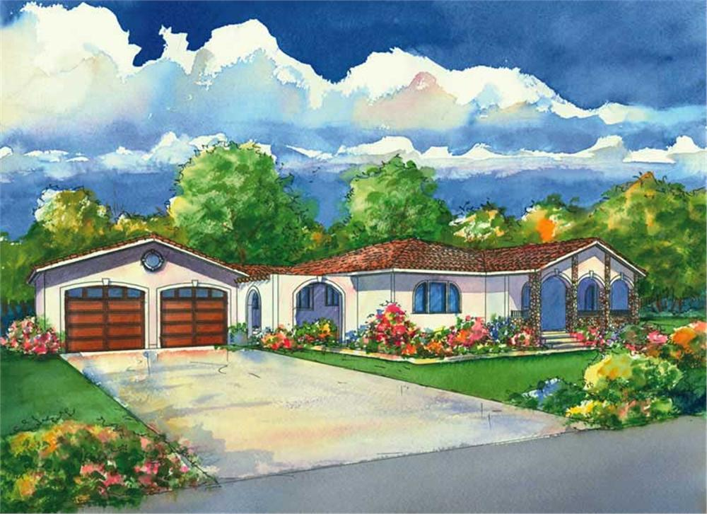 This is a colored rendering of the Del Sol Mediterranean House Plans.