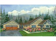 This image shows the colored rendering of the Kalispel Peak Craftsman Homeplans.