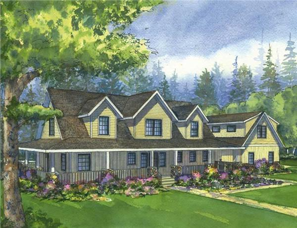 This is a colored front elevation of the Prairie View Cape Cod Homeplans.