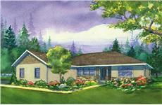 This is a colored rendering of the Eastwood Ranch Houseplans.