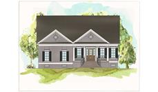 This is a colorful drawing of the front of these Traditional Home Plans.