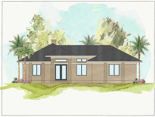 This is a colored front elevation of these Contemporary Prairie Houseplans.
