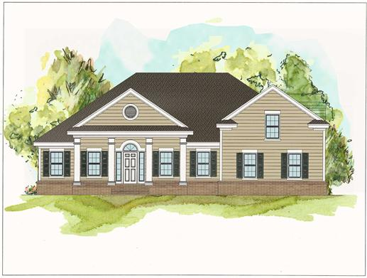 This is an artist's rendering of these Traditional Colonial Houseplans.