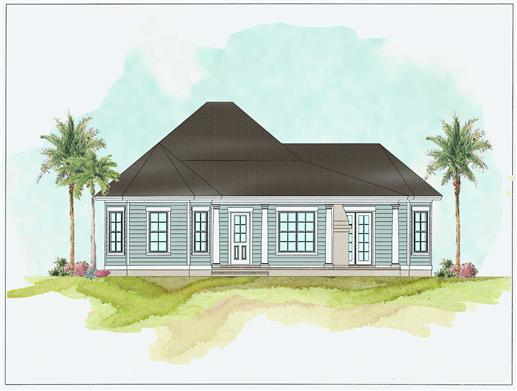 This is a colored rendering of these beachfront house plans.