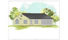 This image is an artist's rendering of Ranch House Plans 07-069 C.