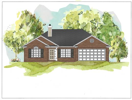 This image shows the front elevation of these Traditional Homeplans.
