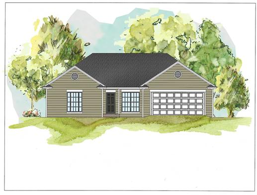 This is a colored rendering of these Ranch House plans.