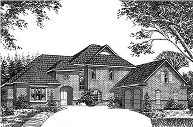 3-Bedroom, 3062 Sq Ft European House Plan - 113-1005 - Front Exterior