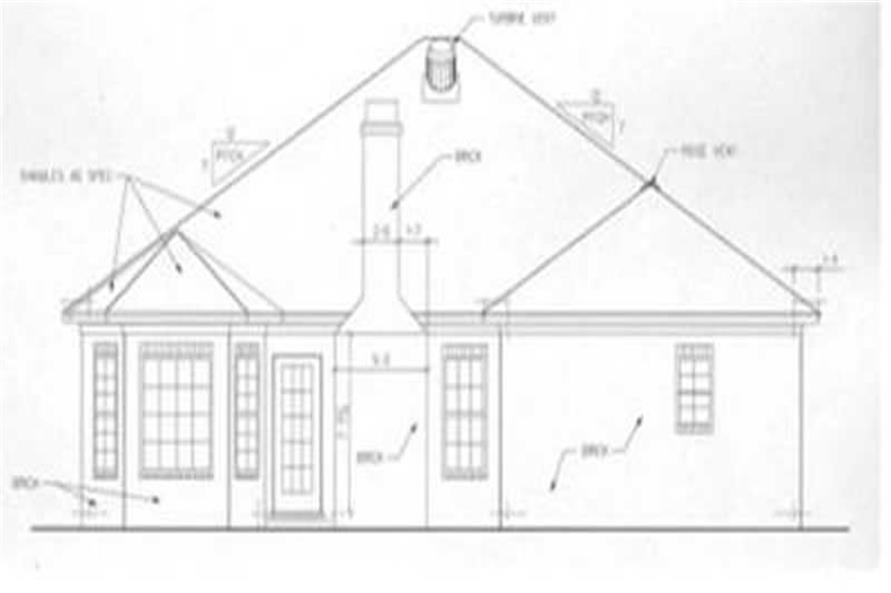 Home Plan Rear Elevation of this 3-Bedroom,1304 Sq Ft Plan -113-1006