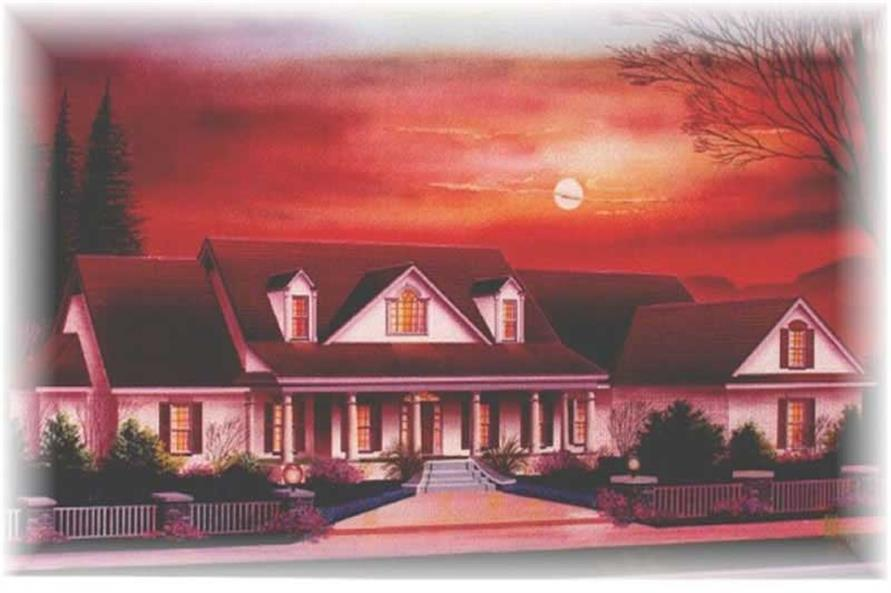 Color rendering of Country home plan (ThePlanCollection: House Plan #113-1017)