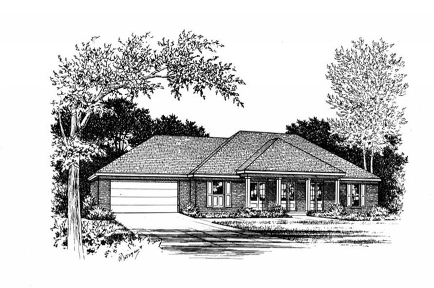 Front elevation of Ranch home (ThePlanCollection: House Plan #113-1033)