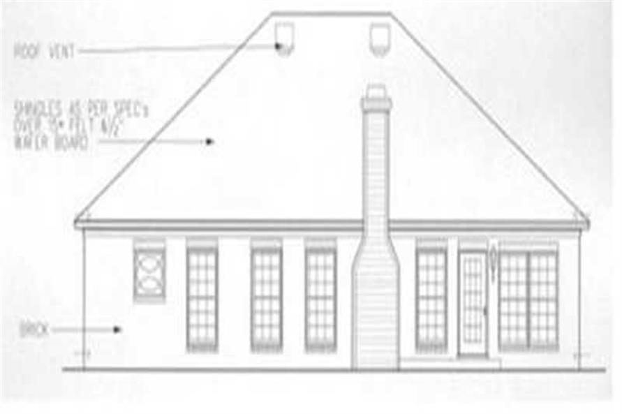 Home Plan Rear Elevation of this 3-Bedroom,1445 Sq Ft Plan -113-1034