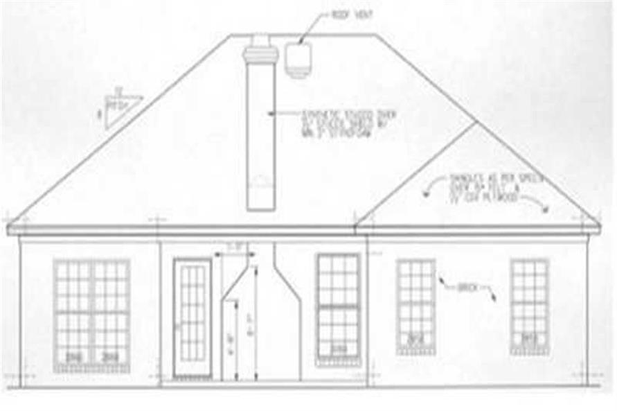 Home Plan Rear Elevation of this 3-Bedroom,1525 Sq Ft Plan -113-1035