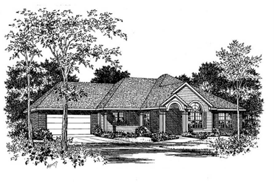 3-Bedroom, 1608 Sq Ft Southern House Plan - 113-1036 - Front Exterior