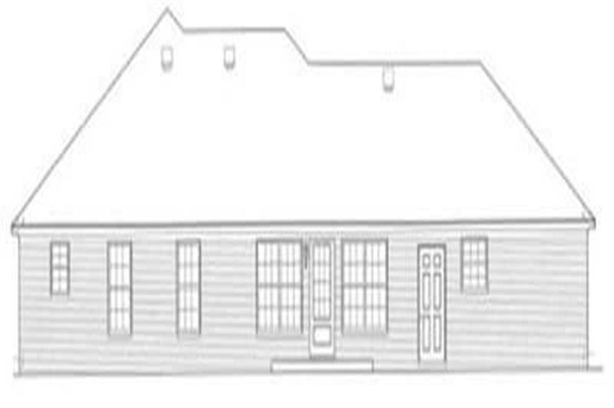 Home Plan Rear Elevation of this 3-Bedroom,1608 Sq Ft Plan -113-1036