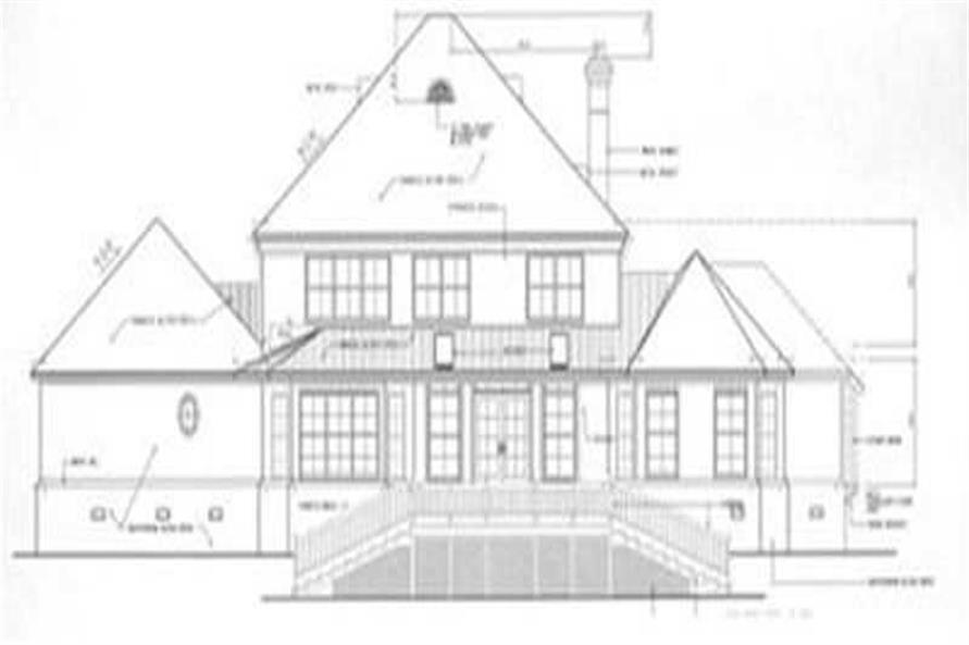 Home Plan Rear Elevation of this 4-Bedroom,3305 Sq Ft Plan -113-1043
