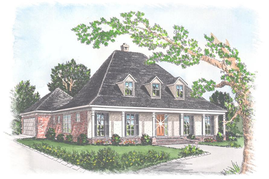 Front elevation of Southern home (ThePlanCollection: House Plan #113-1049)