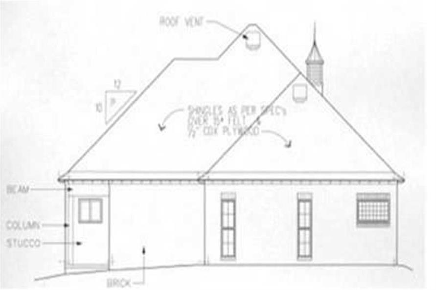 Home Plan Rear Elevation of this 3-Bedroom,1758 Sq Ft Plan -113-1057