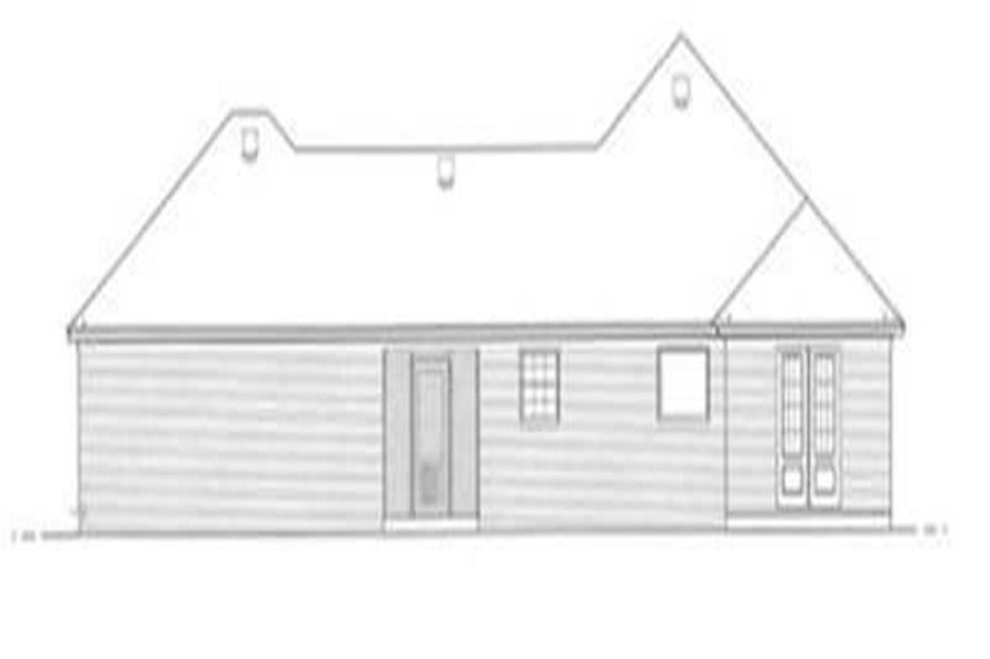 Home Plan Rear Elevation of this 3-Bedroom,1568 Sq Ft Plan -113-1075