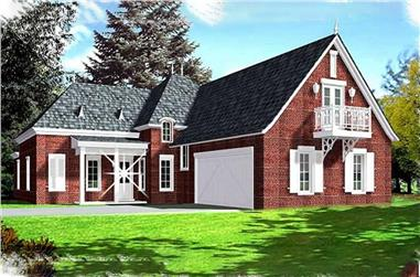 4-Bedroom, 2447 Sq Ft Colonial Home Plan - 113-1087 - Main Exterior
