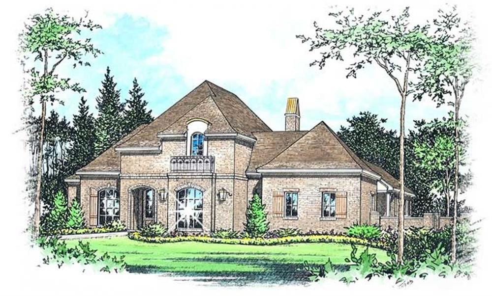 Front elevation of French home (ThePlanCollection: House Plan #113-1092)