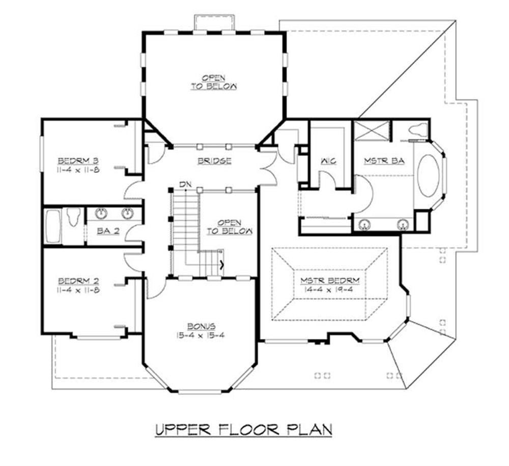 Craftsman home plan with 3 bedrooms 3130 sq ft house plan for Second story floor plan