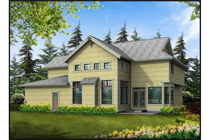 Home Plan Rear Elevation of this 3-Bedroom,3130 Sq Ft Plan -115-1000